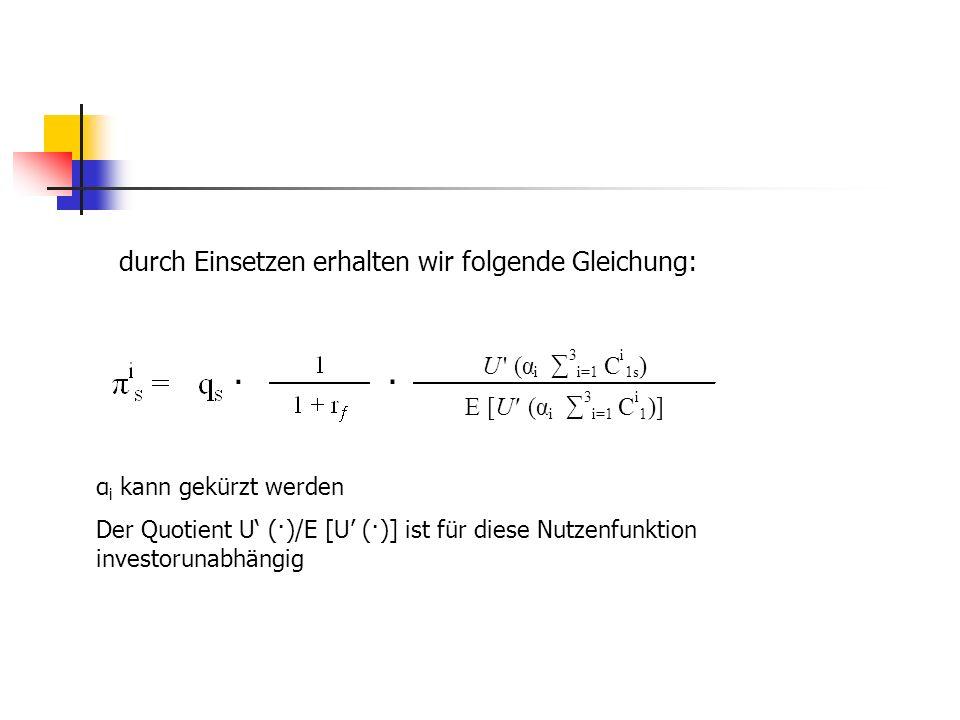 · · durch Einsetzen erhalten wir folgende Gleichung: U (α ∑ C ) E [